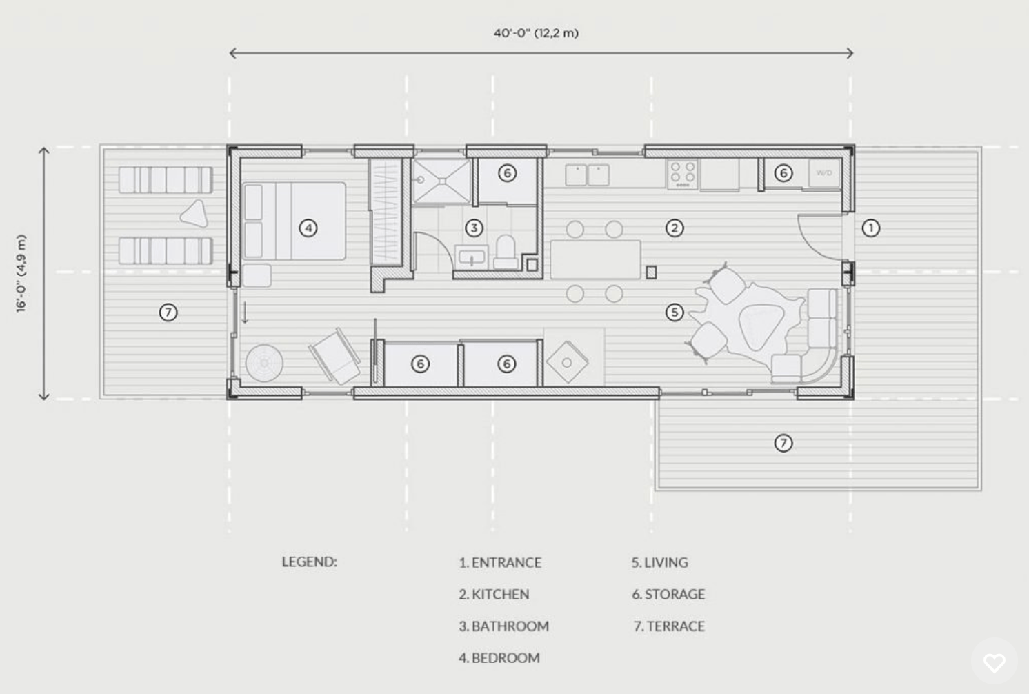 This Home Is Made Of One 40 Container Making Up 640 Square Feet Living E Model Showing A Bedroom Layout With Flexible
